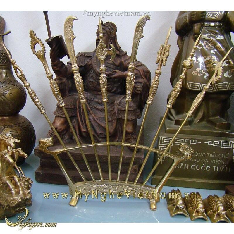Bộ chấp kích 8 binh khí bày bàn thờ cao 35cm bằng đồng