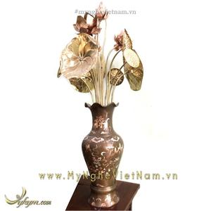 Lọ hoa sen bằng đồng đỏ khảm bạc tam khí cao 50cm