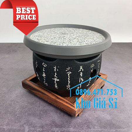 Lò nướng thịt BBQ bằng đá hình tròn để bàn kiểu Nhật