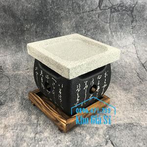 Lò nướng thịt hình vuông bằng đá tại bàn kiểu Nhật (size lớn)