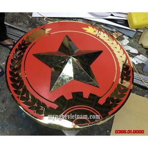 Logo quân đội treo cổng doanh trại dk 70cm 80cm 90cm bằng inox vàng gương
