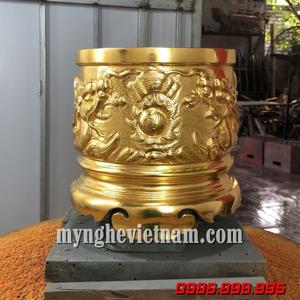 Lư hương đồng mạ vàng cao cấp - Nhận dát vàng bát hương cũ