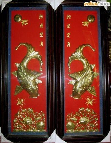 Lý Ngư Vọng Nguyệt, Cá chép chơi trăng, tranh cá chép, tranh đồng nghệ thuật