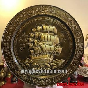 Mâm đồng thuyền buồm phong thủy giả cổ dk 52cm