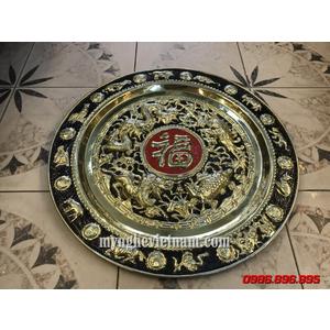 Mâm Tứ Linh Long Ly Quy Phượng chầu chữ Phúc đường kính 52cm
