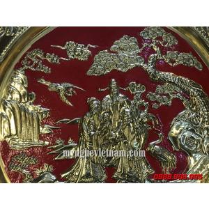 Mâm tam đa Phúc Lộc Thọ dk 52cm bằng đồng dập nổi