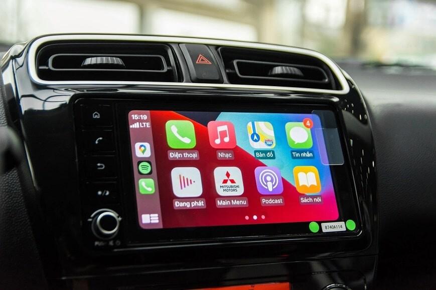 Màn hình cảm ứng tích hợp Apple Carplay và Android Auto trên attrage cvt Premium