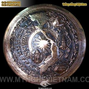 Mặt trống đồng có bản đồ Việt nam, mặt trống đồng đỏ 60cm