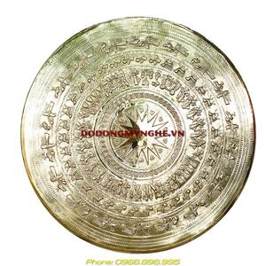 Mặt trống đồng gò nổi đk 60cm bằng đồng vàng nguyên chất