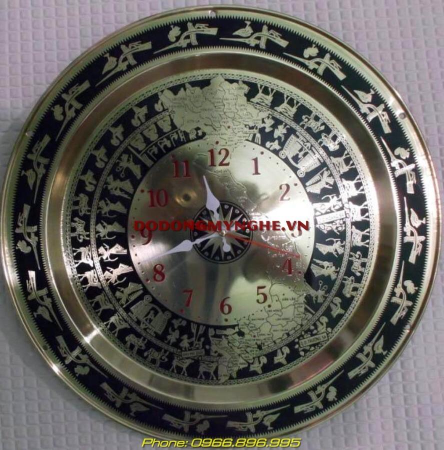 Đồng hồ mặt trống đồng cao cấp đk 40cm