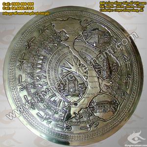 Mặt trống đồng Việt Nam bản đồ 4 miền đk 40cm