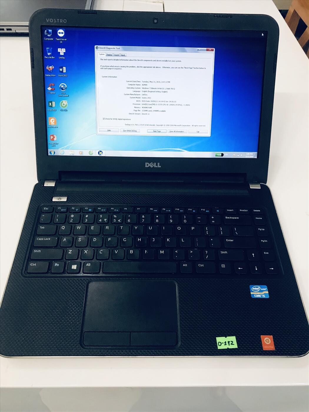 Dell Vostro 2421   i5-3337U~1.8GHz   Ram 4G/HDD 500G/14