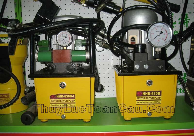 Máy bơm điện thủy lực HHB-630B-I - Van điện từ, 2 vòi dầu, Áp 70Mpa, Dầu 8 lít