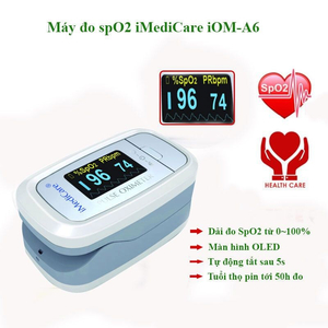 Máy đo nồng độ oxy bão hòa trong máu và nhịp xung iMediCare iOM-A6