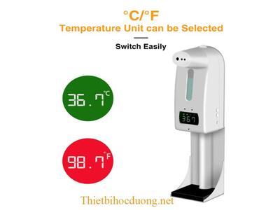 Máy đo thân nhiệt và rửa tay khử khuẩn, sát trùng tay tự động K10 Pro