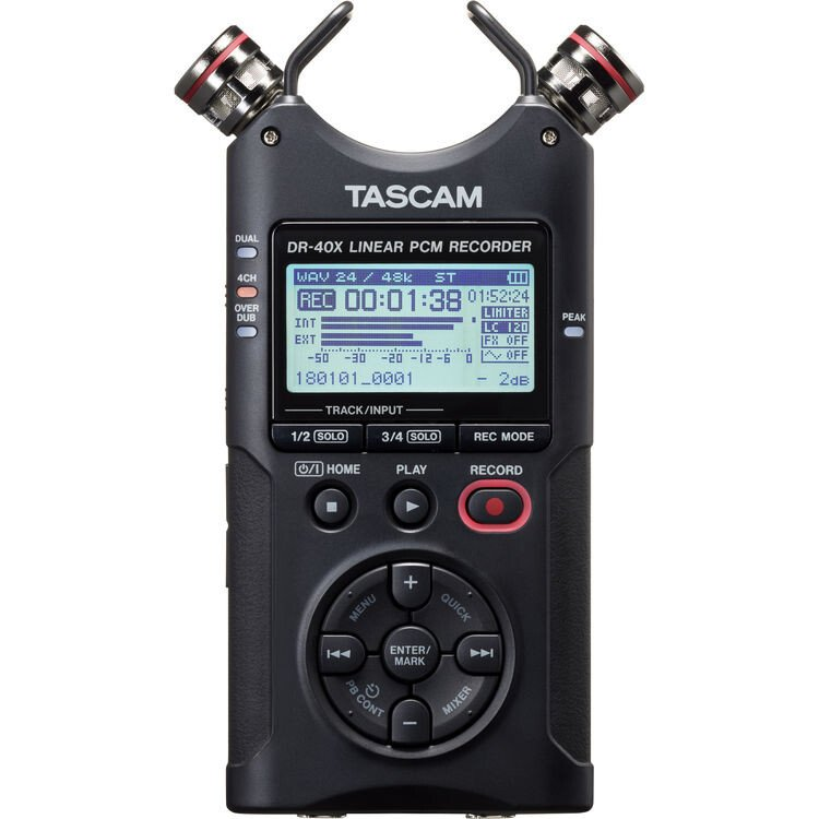 Máy ghi âm Tascam DR-40X 4-Channel / 4-Track Portable Audio Recorder with Adjustable Stereo Micropho