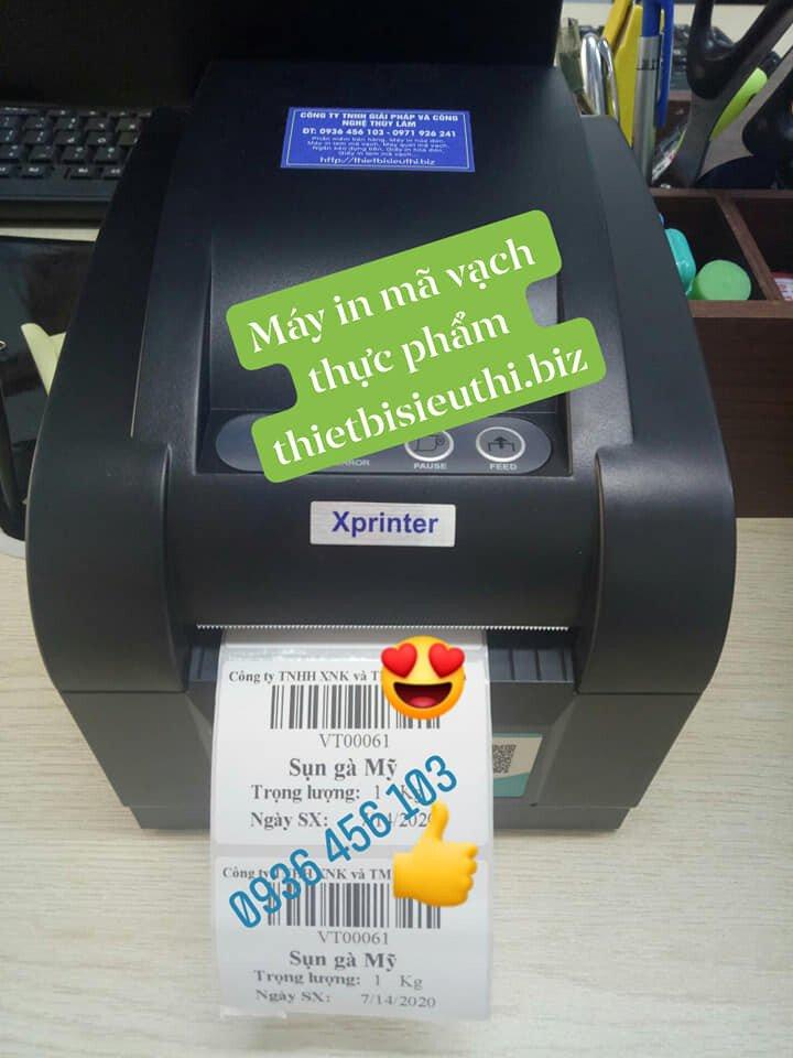 Máy in tem mã vạch thực phẩm Xprinter XP 350B