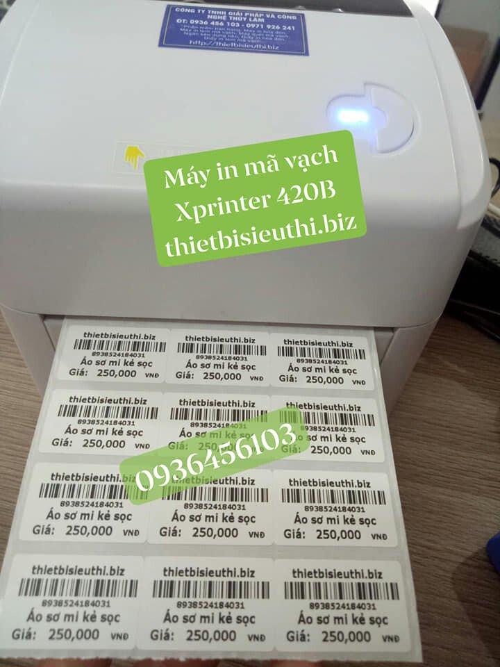 Máy in tem mã vạch cho shop thời trang, minimart, tạp hóa Xprinter XP 420B