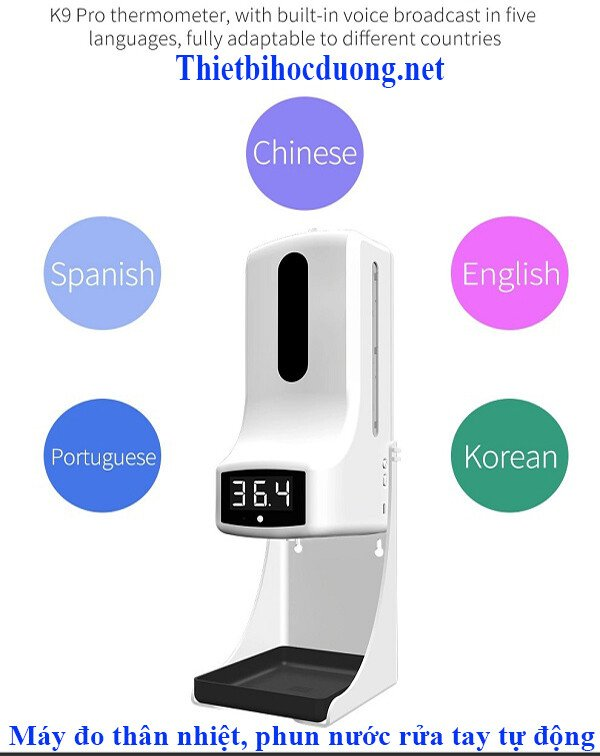 Máy đo thân nhiệt từ xa kết hợp xịt nước diệt khuẩn tay K9 Pro