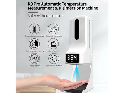 Máy rửa tay khử khuẩn bằng Gel khô và đo thân nhiệt từ xa chích xác có chuông báo