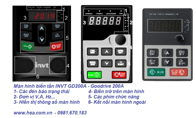 màn hình biến tần invt gd20, gd200a và các chỉ dẫn