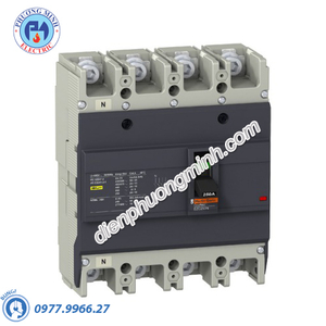 MCCB Type N 4P 100A 25kA 415VAC - Model EZC250N4100