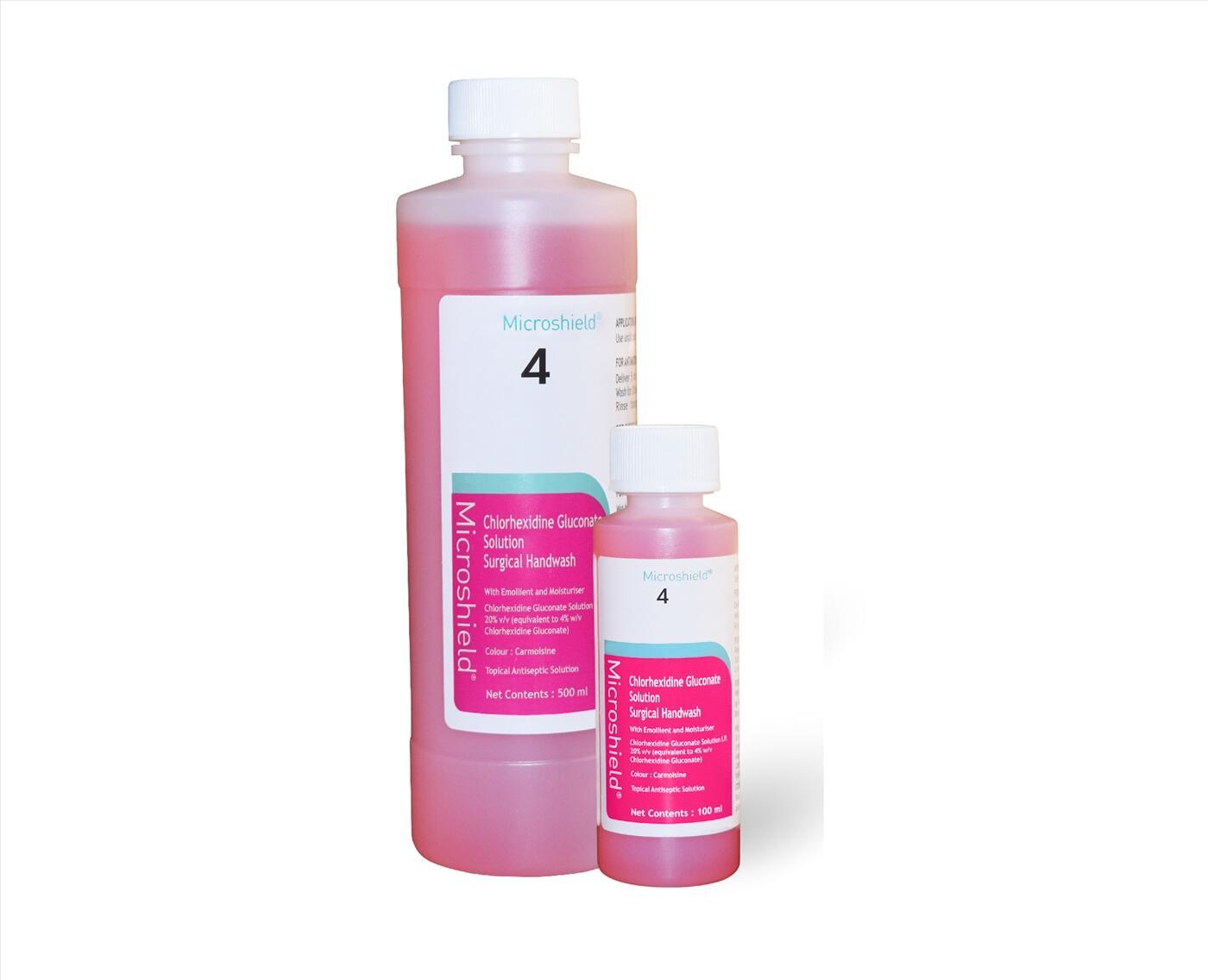 Dung dịch rửa tay phẫu thuật Microshield 4 Chlorhexidine Surgical Handwash 500 ml & 5 lít