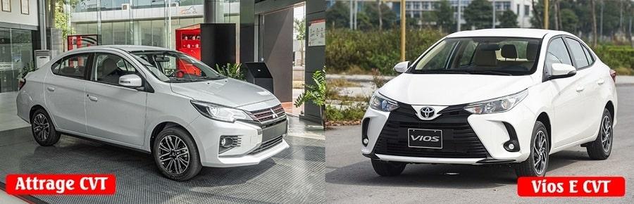 Mitsubishi Attrage bản Premium và Toyota Vios bản E số tự động