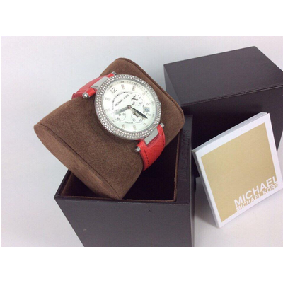 Đồng hồ nữ Michael Kors Parker Chronograph silver pink Leather MK2278