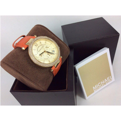 Đồng hồ nữ Michael Kors Parker Chronograph Gold-tone orange Leather MK2279