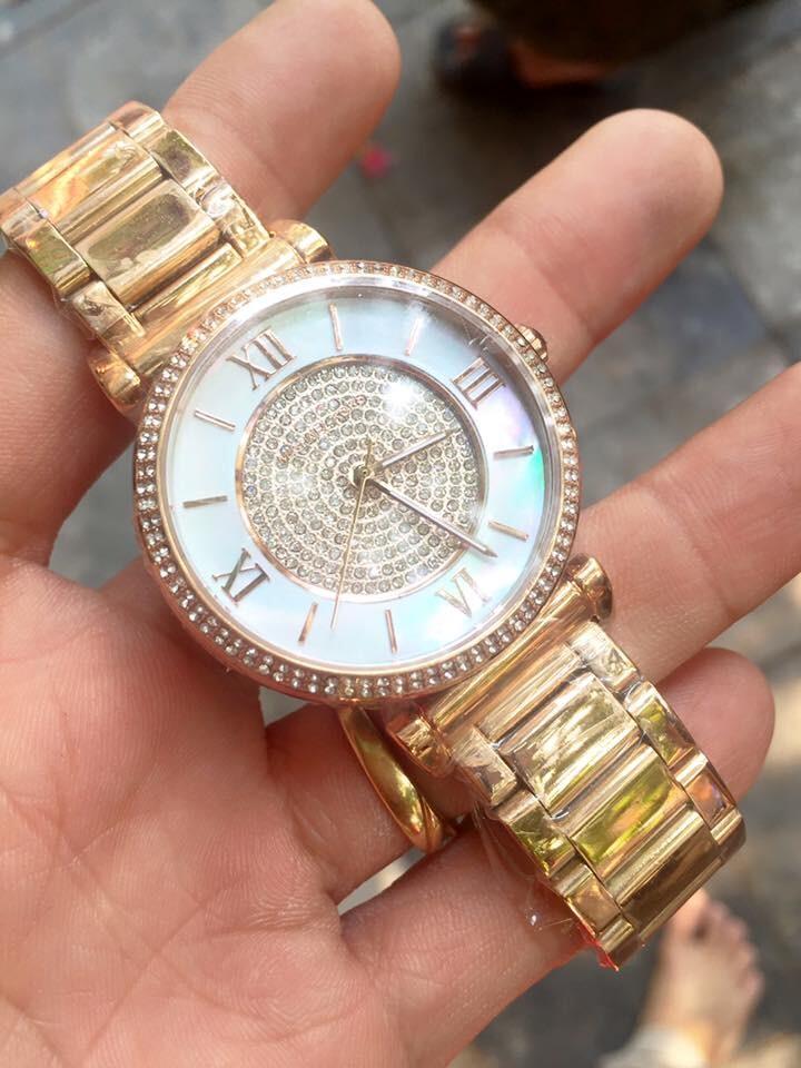 Đồng hồ nữ Michael Kors Caitlin Gold Rose Crystal White Dial MK3354