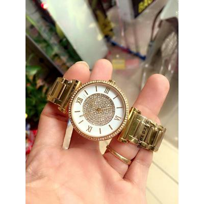 Đồng hồ nữ Michael Kors Caitlin Gold Crystal White Dial MK3354