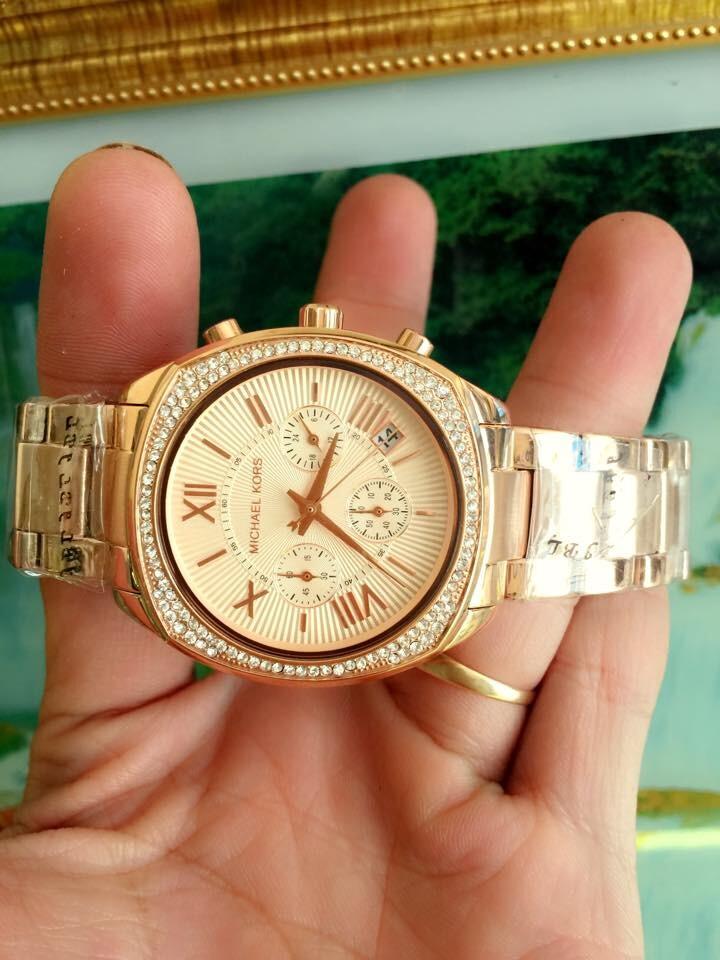 Đồng hồ nữ Michael Kors chronograph Gold Dial Plated Mk6134