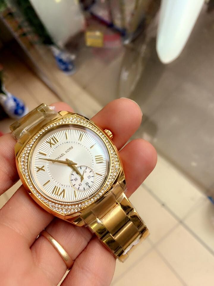 Đồng hồ nữ Michael Kors Bryn Gold Dial White Plated Mk6134