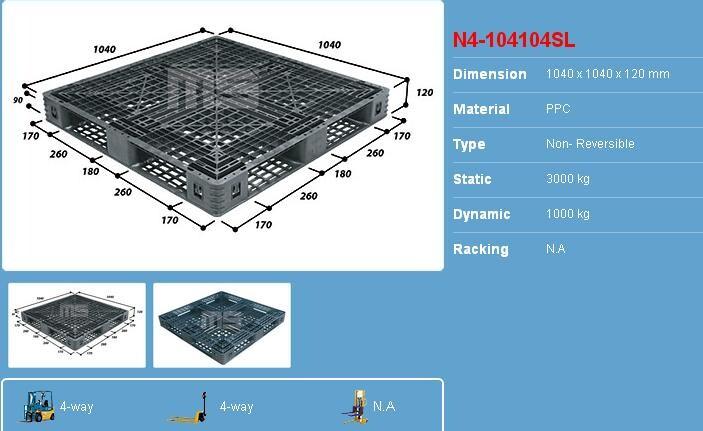 Pallet nhựa 1040x1040x120 màu đen một mặt 3000kg - Malaysia