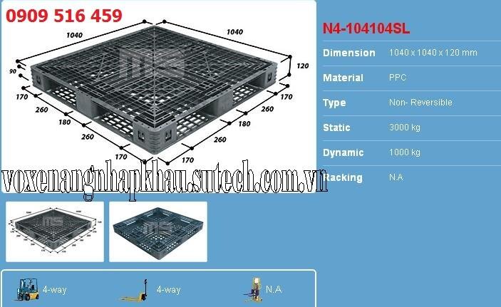 Pallet nhựa 1040x1040x120mm   Pallet đen malaisia 1040x1040x120mm