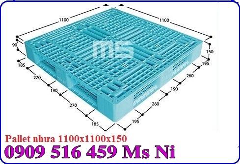Pallet nhựa màu xanh 1100x1100x150mm