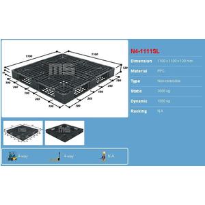 Pallet nhựa 1100x1100x120 màu đen một mặt 3000kg - Malaysia