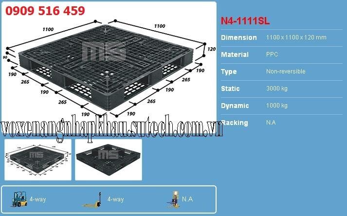 Pallet nhựa 1100x1100x120mm