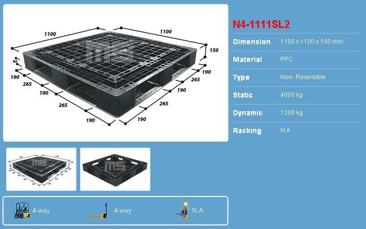 Pallet nhựa 1100x1100x150 màu đen một mặt 4000kg - Malaysia