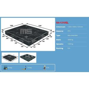 Pallet nhựa 1200x1000x120 màu đen một mặt 3000kg - Malaysia