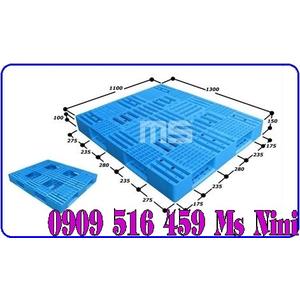 Pallet nhựa màu xanh 1300x1100x140mm - Pallet nhựa xuất khẩu 1300mm
