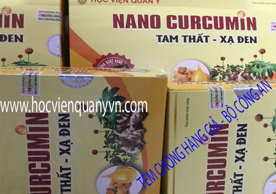 Tem chống Hàng Giả - Nano Curcumin Tam Thất Xạ Đen - Học Viện Quân Y