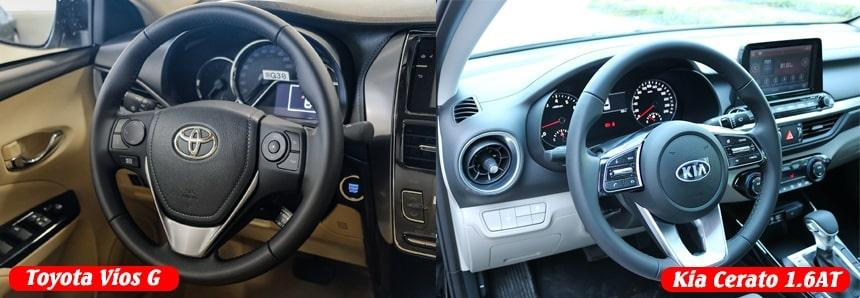 Nên chọn Toyota Vios G hay Kia Cerato 1.6 Luxury