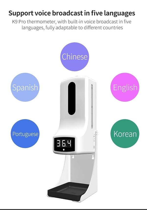 Thiết bị đo thân nhiệt và rửa tay khử khuẩn K9 Pro