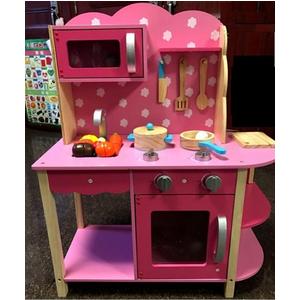 Bộ đồ chơi gỗ cao cấp tủ bếp hồng chấm bi MG8090