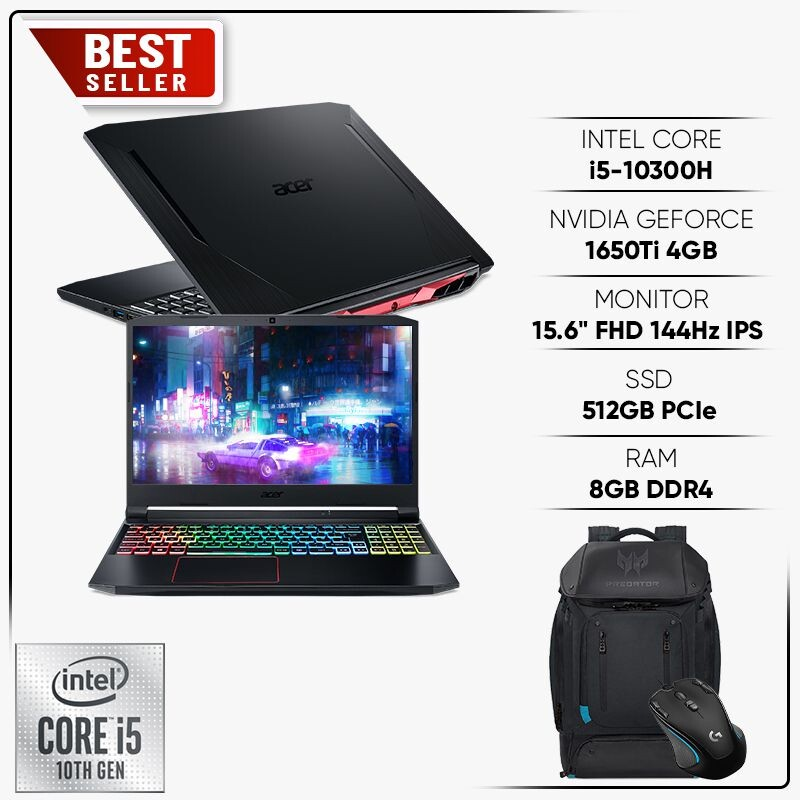 Acer Nitro 5 2020 AN515-55-5923  Core i5-10300H 8GB 512GB  15,6inch Geforce GTX 1650ti 4GB  New 100%