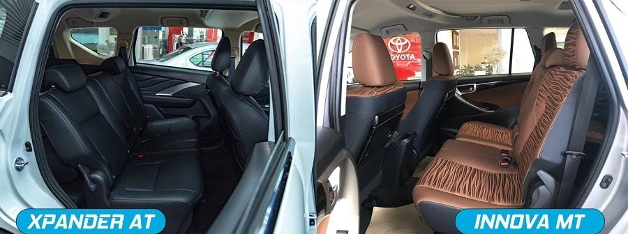 Nội thất 7 chỗ ngồi rộng rãi trên Mitsubishi Xpander và Toyota Innova E