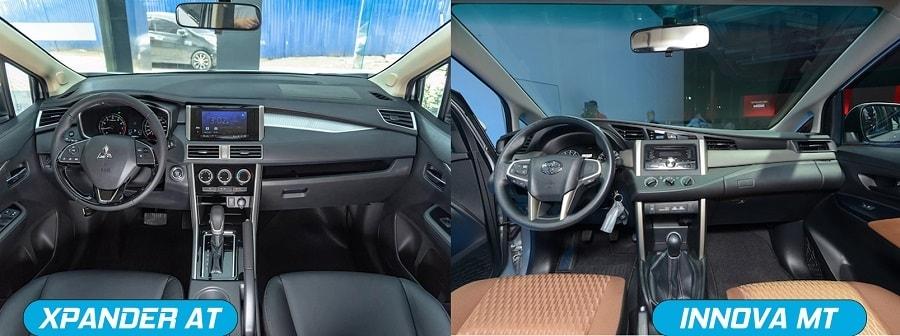 Nội thất xe Mitsubishi Xpander AT và Toyota Innova E số sàn