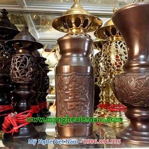 Ống đựng hương chữ Thọ bằng đồng hun, đồ thờ cúng cao cấp